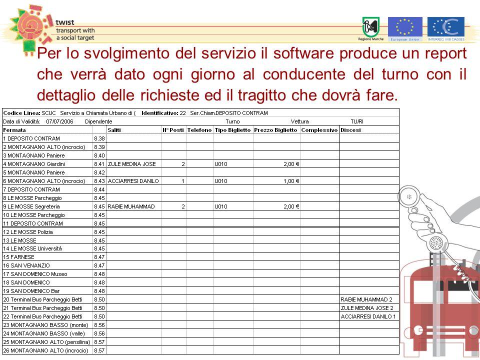 Per lo svolgimento del servizio il software produce un report che verrà dato ogni giorno al conducente del turno con il dettaglio delle richieste ed i