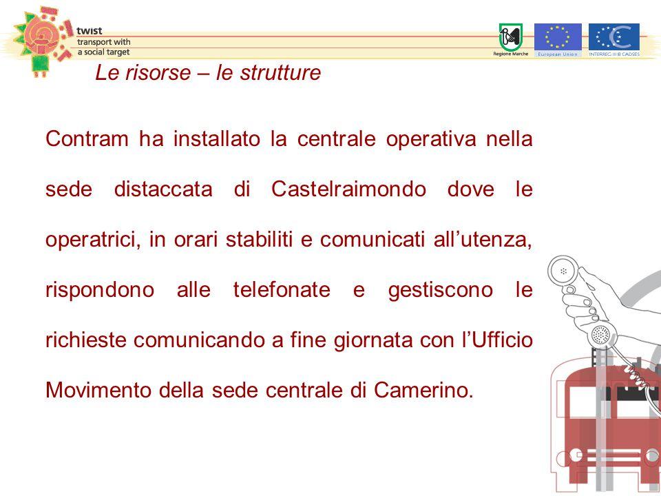 Le risorse – le strutture Contram ha installato la centrale operativa nella sede distaccata di Castelraimondo dove le operatrici, in orari stabiliti e