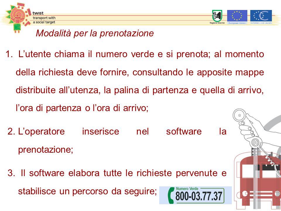 2.L'operatore inserisce nel software la prenotazione; 3. Il software elabora tutte le richieste pervenute e stabilisce un percorso da seguire; 1. L'ut