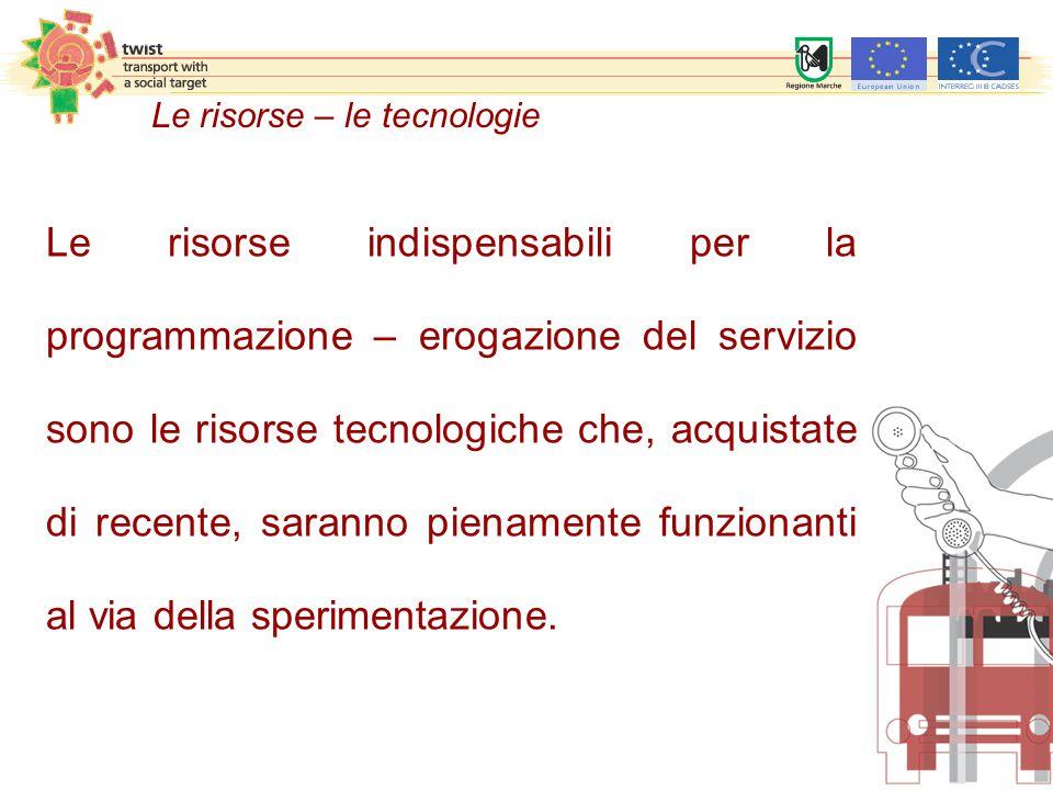 Le risorse – le tecnologie Le risorse indispensabili per la programmazione – erogazione del servizio sono le risorse tecnologiche che, acquistate di r