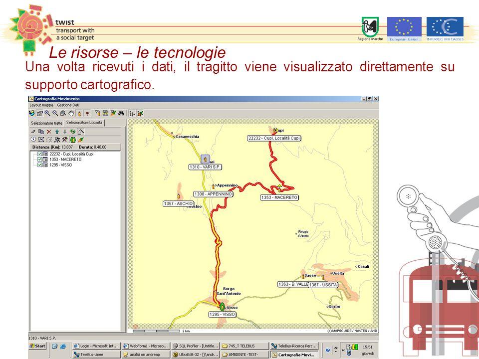 Una volta ricevuti i dati, il tragitto viene visualizzato direttamente su supporto cartografico.