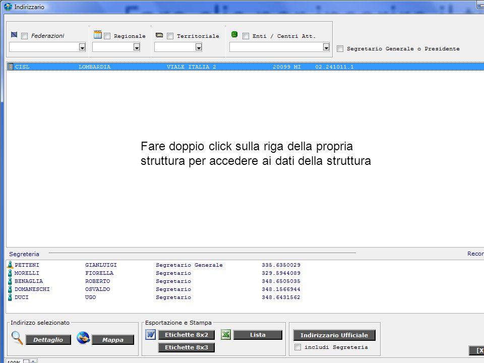 Fare doppio click sulla riga della propria struttura per accedere ai dati della struttura