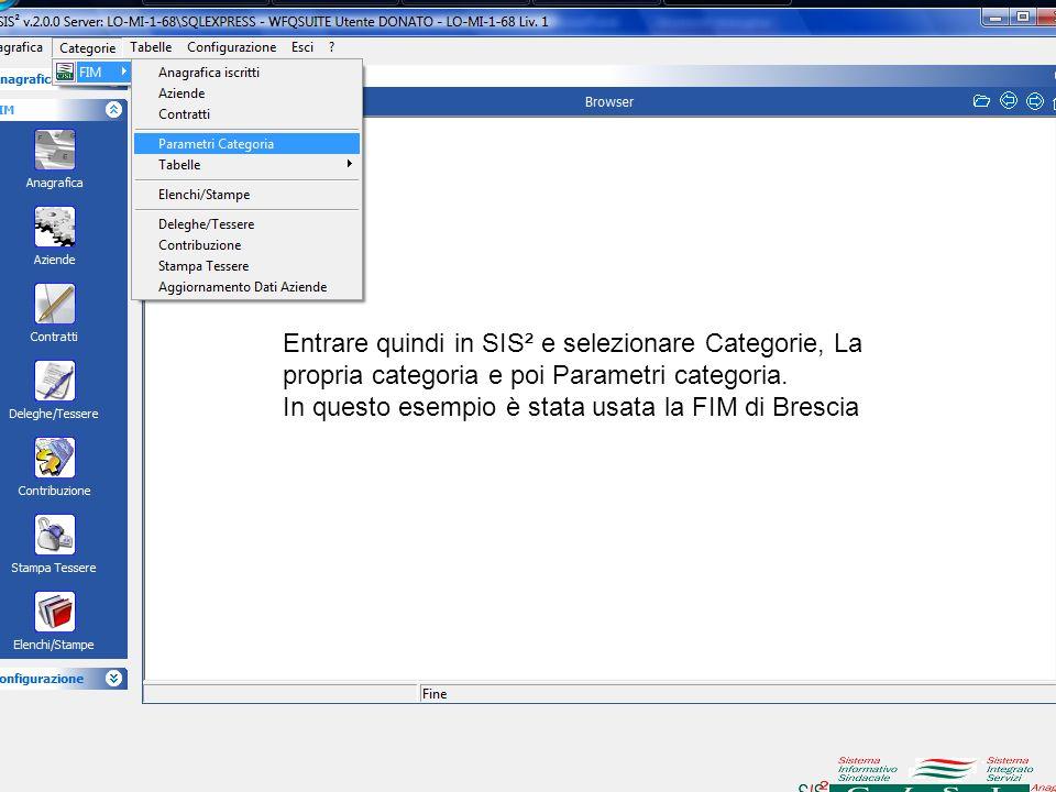 Entrare quindi in SIS² e selezionare Categorie, La propria categoria e poi Parametri categoria. In questo esempio è stata usata la FIM di Brescia