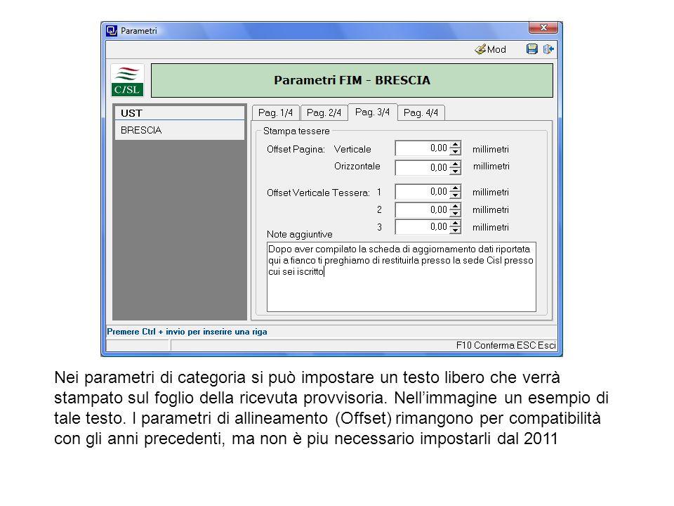 Nei parametri di categoria si può impostare un testo libero che verrà stampato sul foglio della ricevuta provvisoria. Nell'immagine un esempio di tale