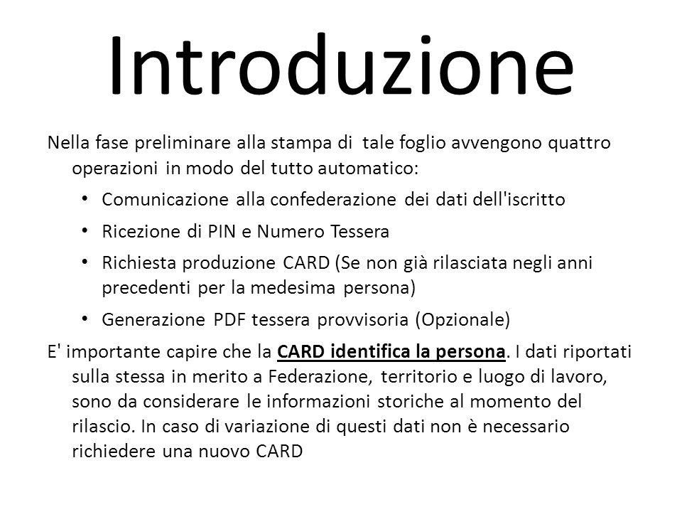Nella fase preliminare alla stampa di tale foglio avvengono quattro operazioni in modo del tutto automatico: Comunicazione alla confederazione dei dat