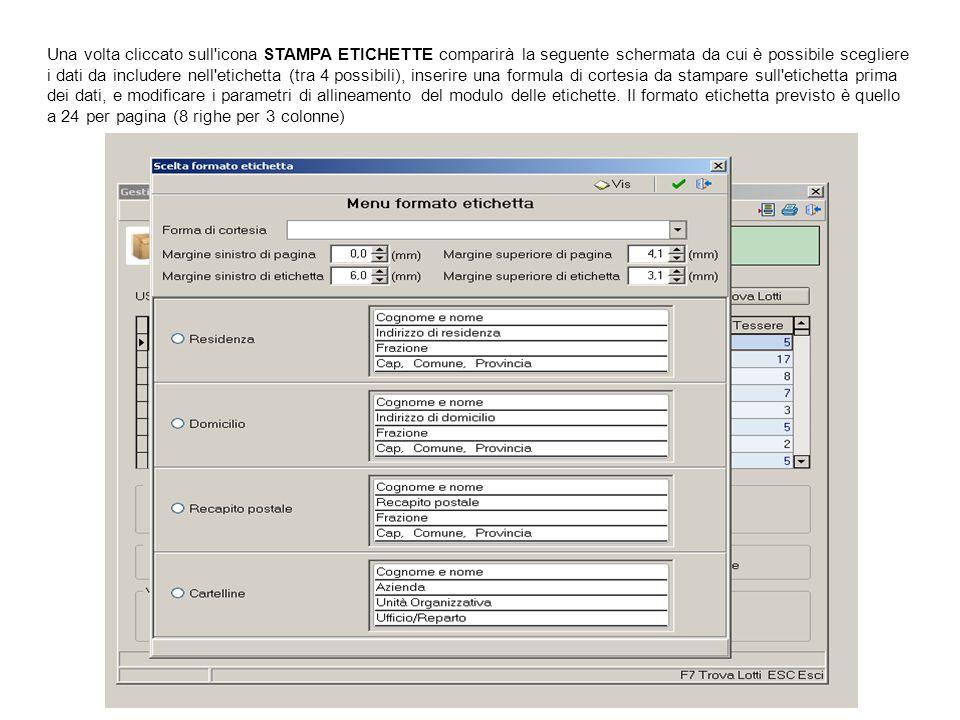 Una volta cliccato sull'icona STAMPA ETICHETTE comparirà la seguente schermata da cui è possibile scegliere i dati da includere nell'etichetta (tra 4