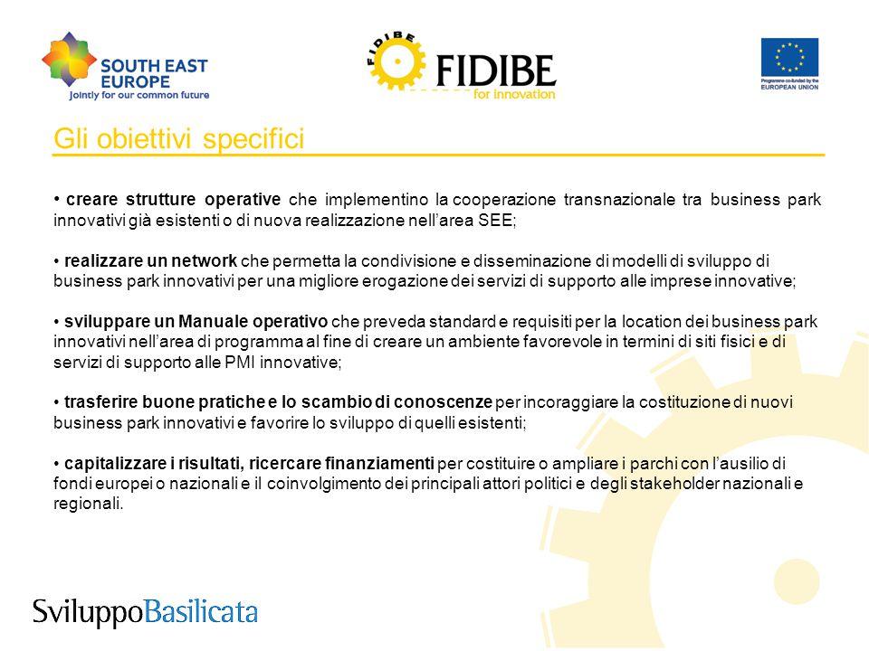 5 Gli obiettivi specifici creare strutture operative che implementino la cooperazione transnazionale tra business park innovativi già esistenti o di n