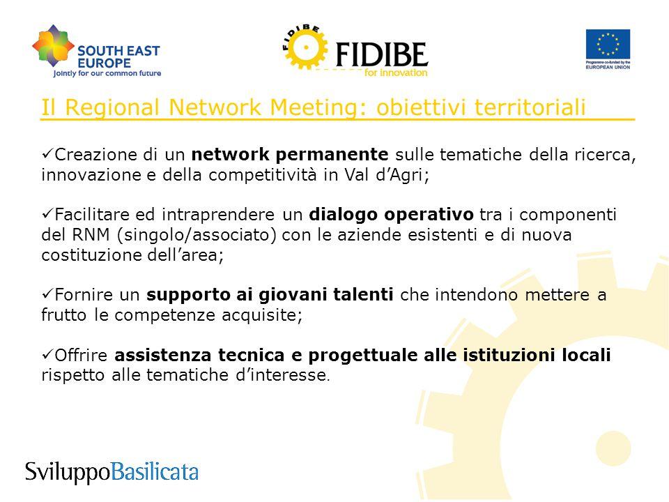 8 Il Regional Network Meeting: obiettivi territoriali Creazione di un network permanente sulle tematiche della ricerca, innovazione e della competitiv