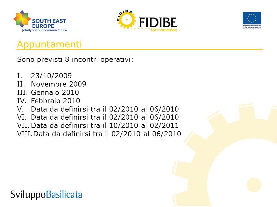 9 Appuntamenti Sono previsti 8 incontri operativi: I.23/10/2009 II.Novembre 2009 III.Gennaio 2010 IV.Febbraio 2010 V.Data da definirsi tra il 02/2010