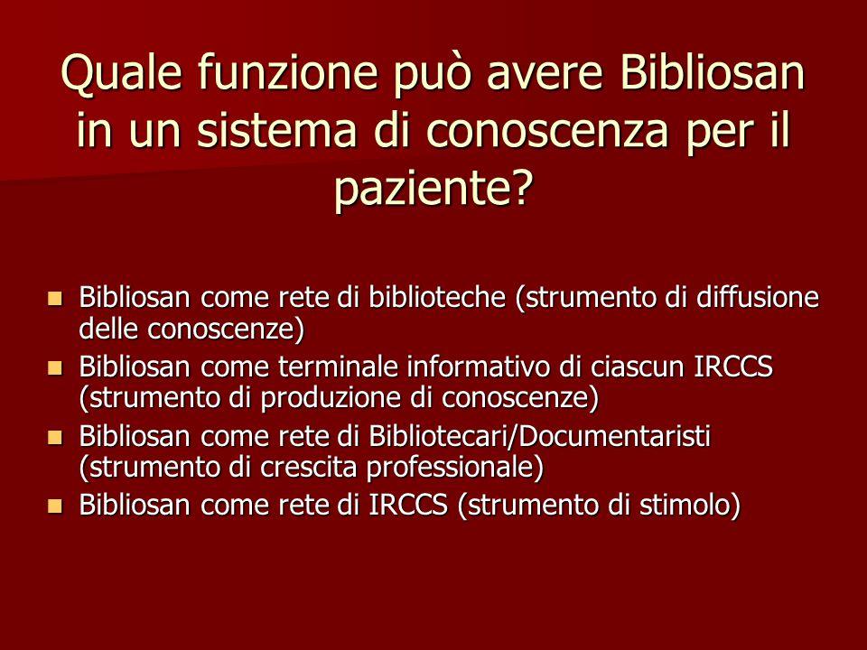 Quale funzione può avere Bibliosan in un sistema di conoscenza per il paziente.