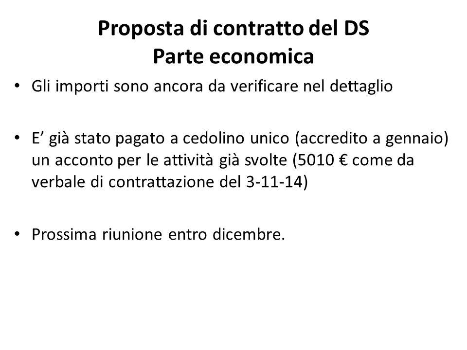 Proposta di contratto del DS Parte economica Gli importi sono ancora da verificare nel dettaglio E' già stato pagato a cedolino unico (accredito a gennaio) un acconto per le attività già svolte (5010 € come da verbale di contrattazione del 3-11-14) Prossima riunione entro dicembre.