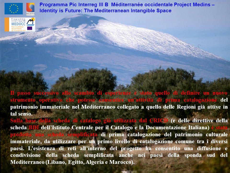 Programma Pic Interreg III B Méditerranée occidentale Project Medins – Identity is Future: The Mediterranean Intangible Space Il passo successivo allo