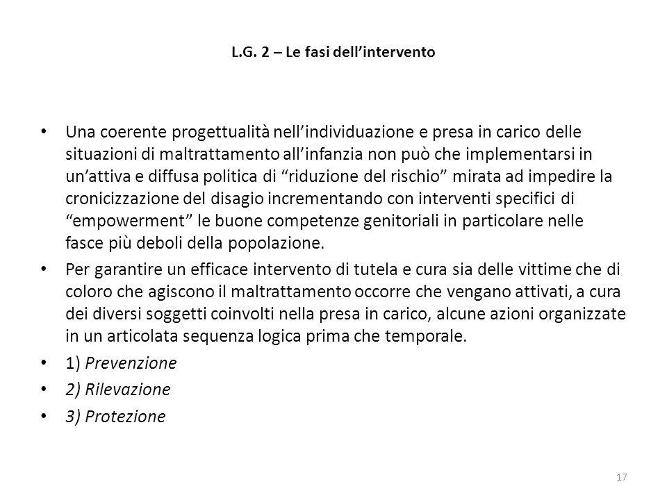 L.G. 2 – Le fasi dell'intervento Una coerente progettualità nell'individuazione e presa in carico delle situazioni di maltrattamento all'infanzia non