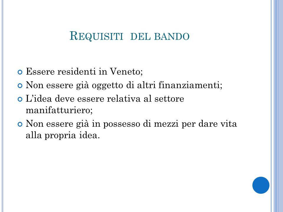 R EQUISITI DEL BANDO Essere residenti in Veneto; Non essere già oggetto di altri finanziamenti; L'idea deve essere relativa al settore manifatturiero; Non essere già in possesso di mezzi per dare vita alla propria idea.