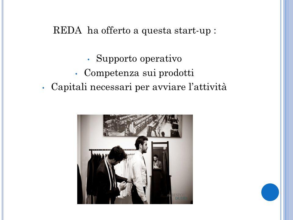 REDA ha offerto a questa start-up : Supporto operativo Competenza sui prodotti Capitali necessari per avviare l'attività