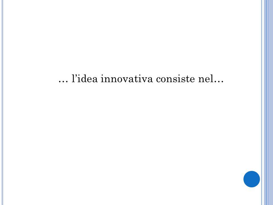 … l'idea innovativa consiste nel…