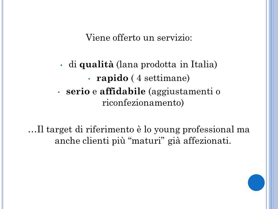 Viene offerto un servizio: di qualità (lana prodotta in Italia) rapido ( 4 settimane) serio e affidabile (aggiustamenti o riconfezionamento) …Il target di riferimento è lo young professional ma anche clienti più maturi già affezionati.