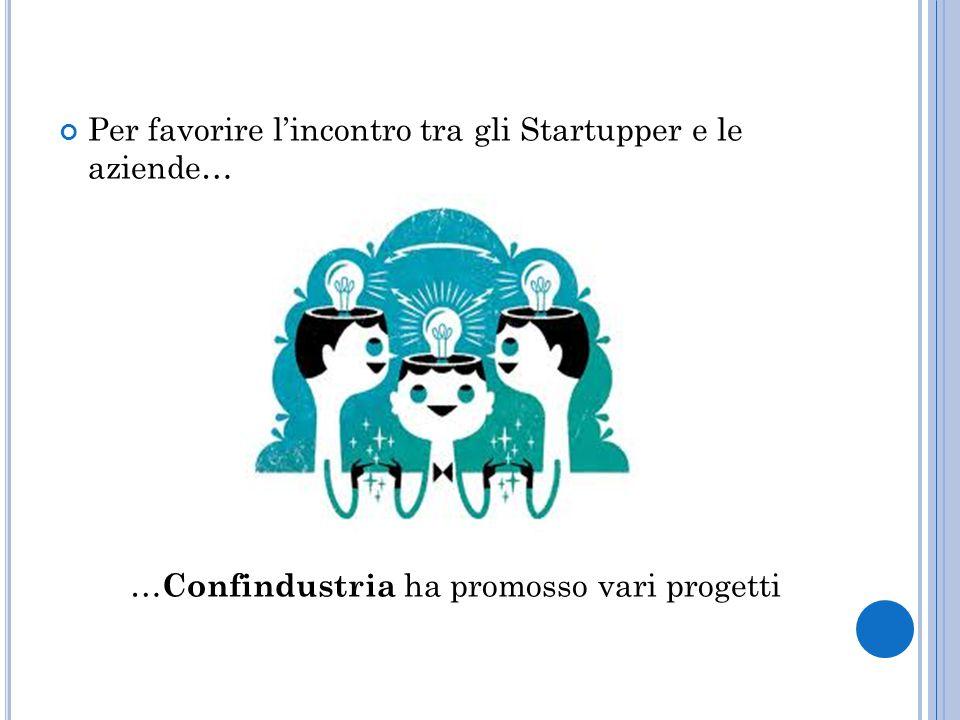 Per favorire l'incontro tra gli Startupper e le aziende… … Confindustria ha promosso vari progetti