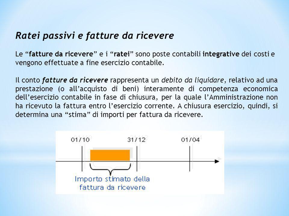 """Ratei passivi e fatture da ricevere Le """"fatture da ricevere"""" e i """"ratei"""" sono poste contabili integrative dei costi e vengono effettuate a fine eserci"""