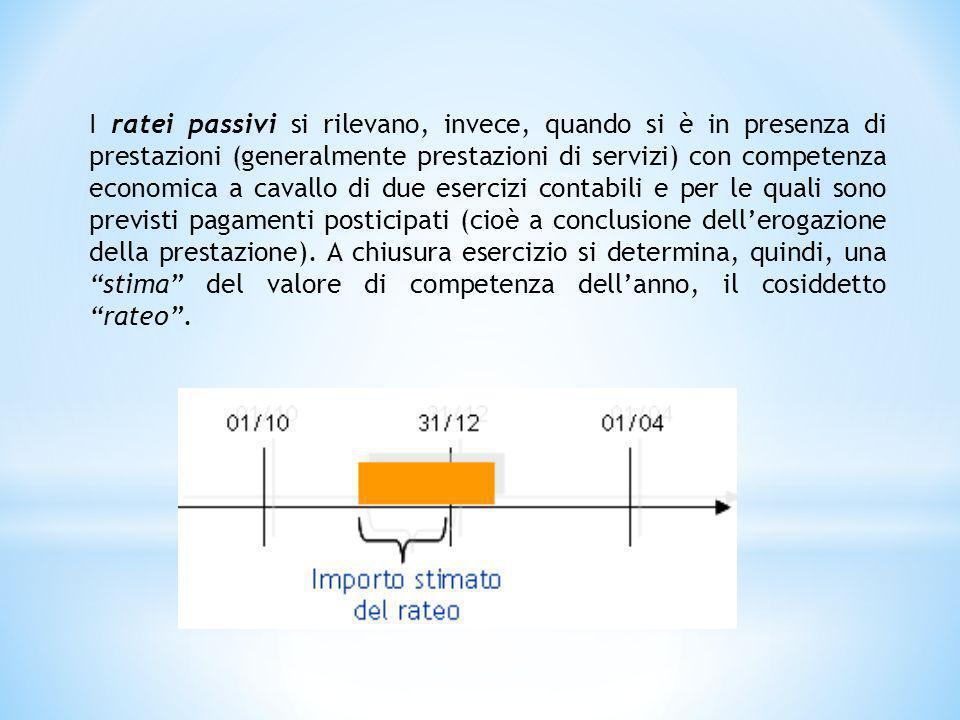 I ratei passivi si rilevano, invece, quando si è in presenza di prestazioni (generalmente prestazioni di servizi) con competenza economica a cavallo d