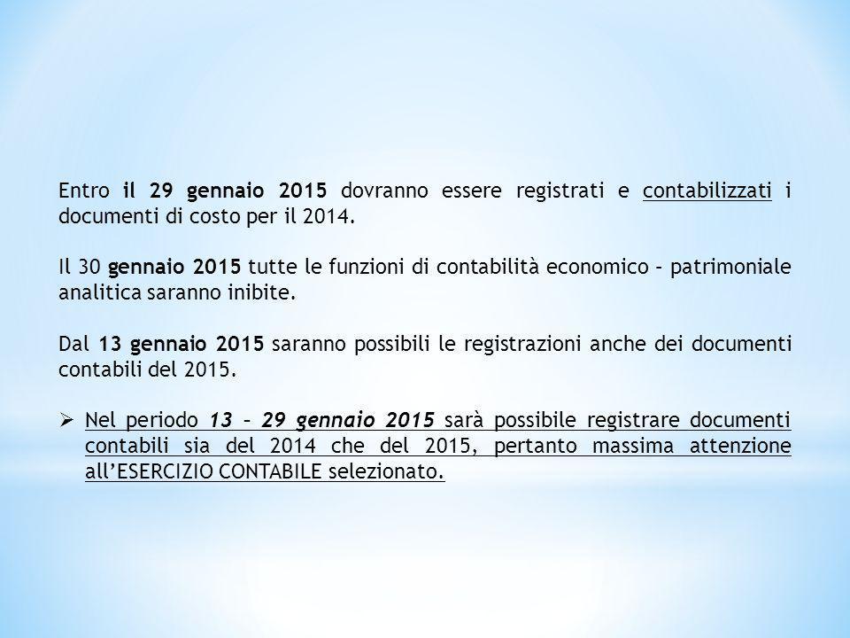 Entro il 29 gennaio 2015 dovranno essere registrati e contabilizzati i documenti di costo per il 2014. Il 30 gennaio 2015 tutte le funzioni di contabi