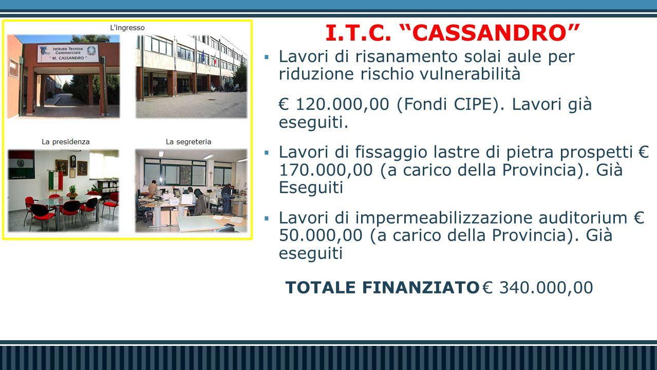 """I.T.C. """"CASSANDRO""""  Lavori di risanamento solai aule per riduzione rischio vulnerabilità € 120.000,00 (Fondi CIPE). Lavori già eseguiti.  Lavori di"""