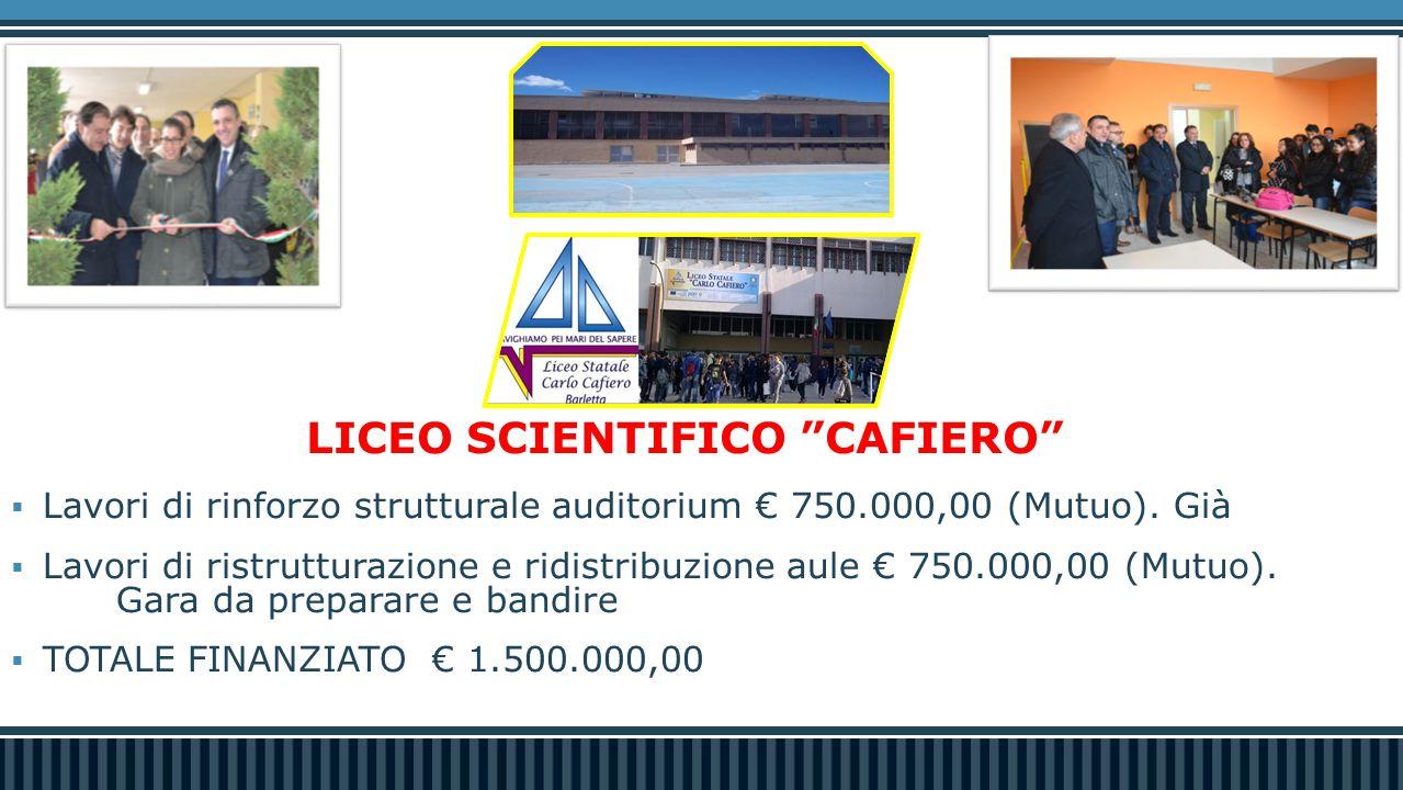  Lavori di rinforzo strutturale auditorium € 750.000,00 (Mutuo). Già  Lavori di ristrutturazione e ridistribuzione aule € 750.000,00 (Mutuo). Gara d