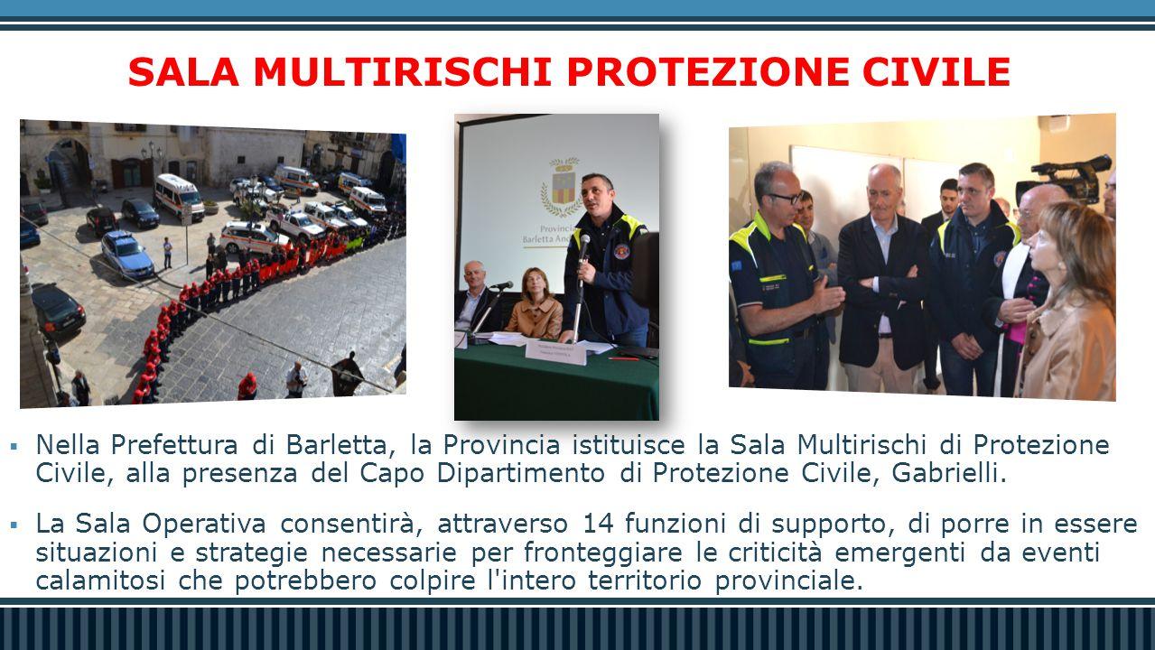 SALA MULTIRISCHI PROTEZIONE CIVILE  Nella Prefettura di Barletta, la Provincia istituisce la Sala Multirischi di Protezione Civile, alla presenza del Capo Dipartimento di Protezione Civile, Gabrielli.