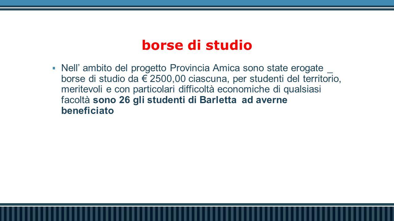 borse di studio  Nell' ambito del progetto Provincia Amica sono state erogate _ borse di studio da € 2500,00 ciascuna, per studenti del territorio, meritevoli e con particolari difficoltà economiche di qualsiasi facoltà sono 26 gli studenti di Barletta ad averne beneficiato