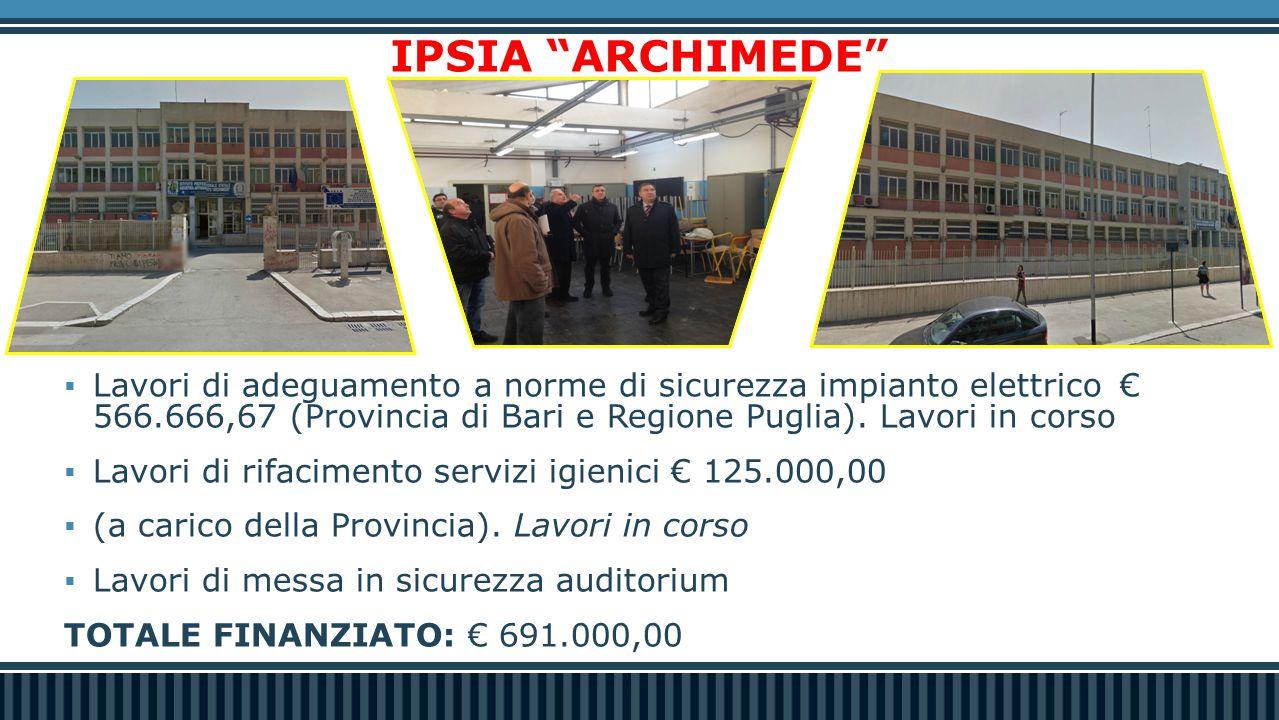 """IPSIA """"ARCHIMEDE""""  Lavori di adeguamento a norme di sicurezza impianto elettrico€ 566.666,67 (Provincia di Bari e Regione Puglia). Lavori in corso """