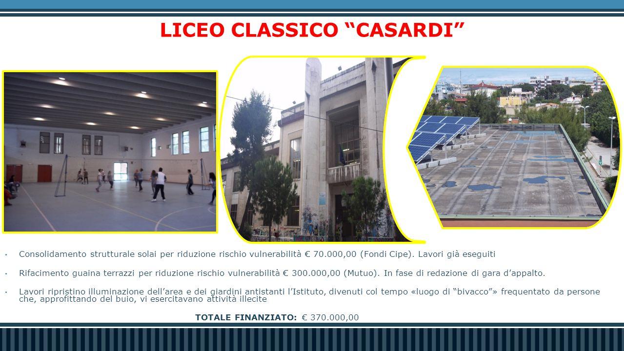 LICEO CLASSICO CASARDI Consolidamento strutturale solai per riduzione rischio vulnerabilità € 70.000,00 (Fondi Cipe).