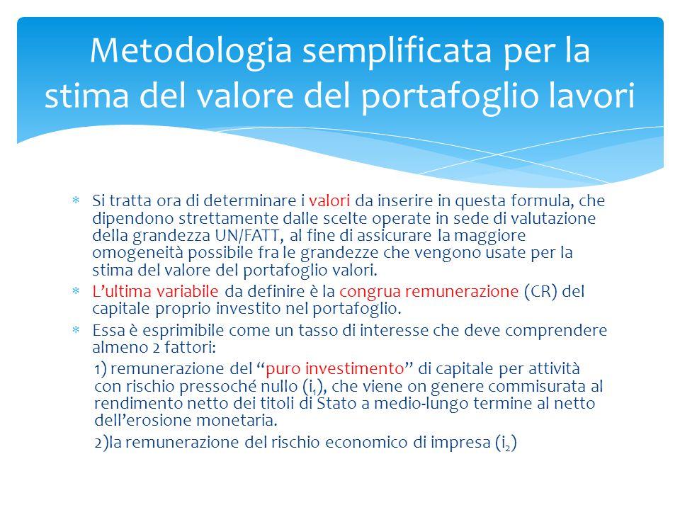  Si tratta ora di determinare i valori da inserire in questa formula, che dipendono strettamente dalle scelte operate in sede di valutazione della gr