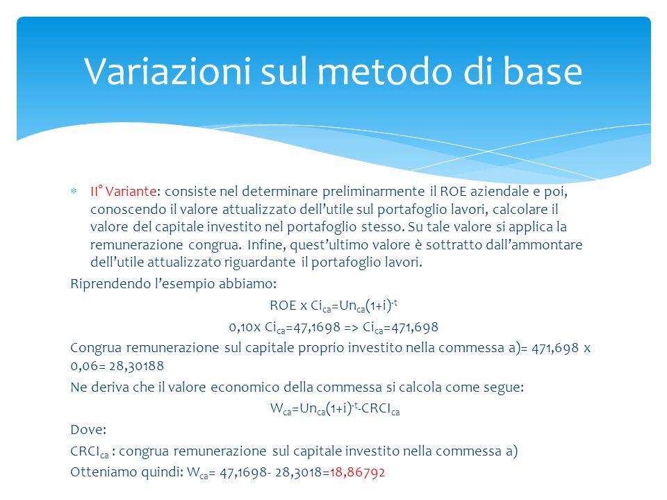  II° Variante: consiste nel determinare preliminarmente il ROE aziendale e poi, conoscendo il valore attualizzato dell'utile sul portafoglio lavori,