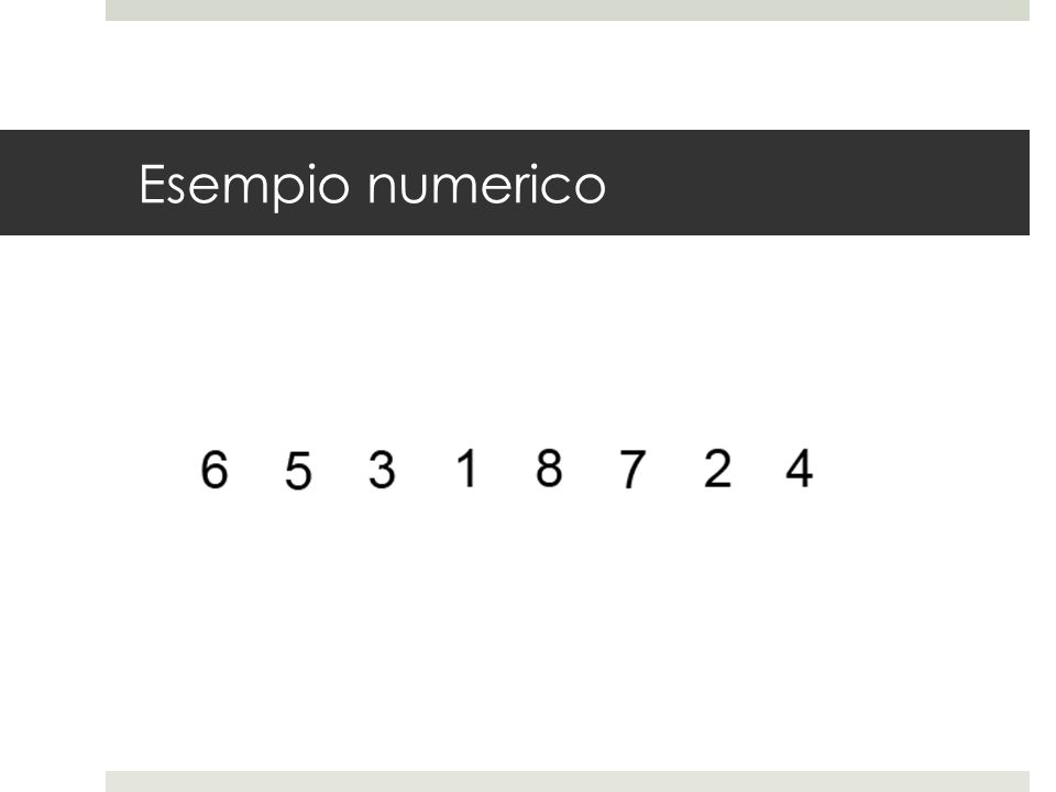 Esempio numerico