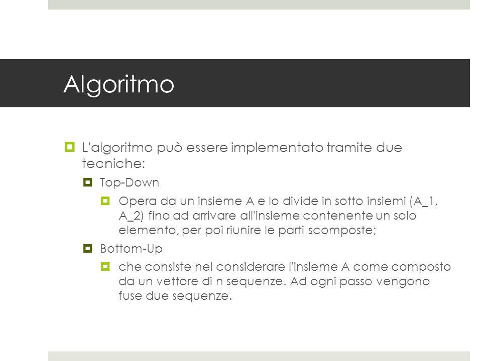Algoritmo  L algoritmo può essere implementato tramite due tecniche:  Top-Down  Opera da un insieme A e lo divide in sotto insiemi (A_1, A_2) fino ad arrivare all insieme contenente un solo elemento, per poi riunire le parti scomposte;  Bottom-Up  che consiste nel considerare l insieme A come composto da un vettore di n sequenze.