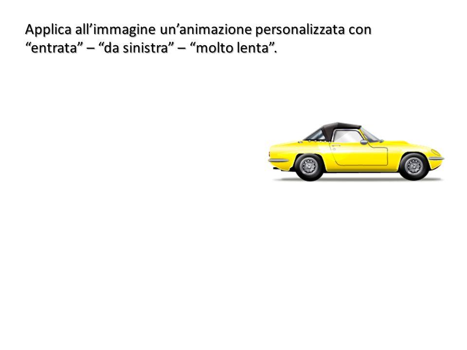 Applica all'immagine un'animazione personalizzata con entrata – da sinistra – molto lenta .