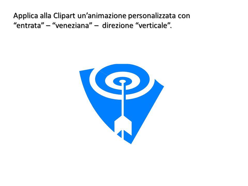 Applica alla Clipart un'animazione personalizzata con entrata – veneziana – direzione verticale .