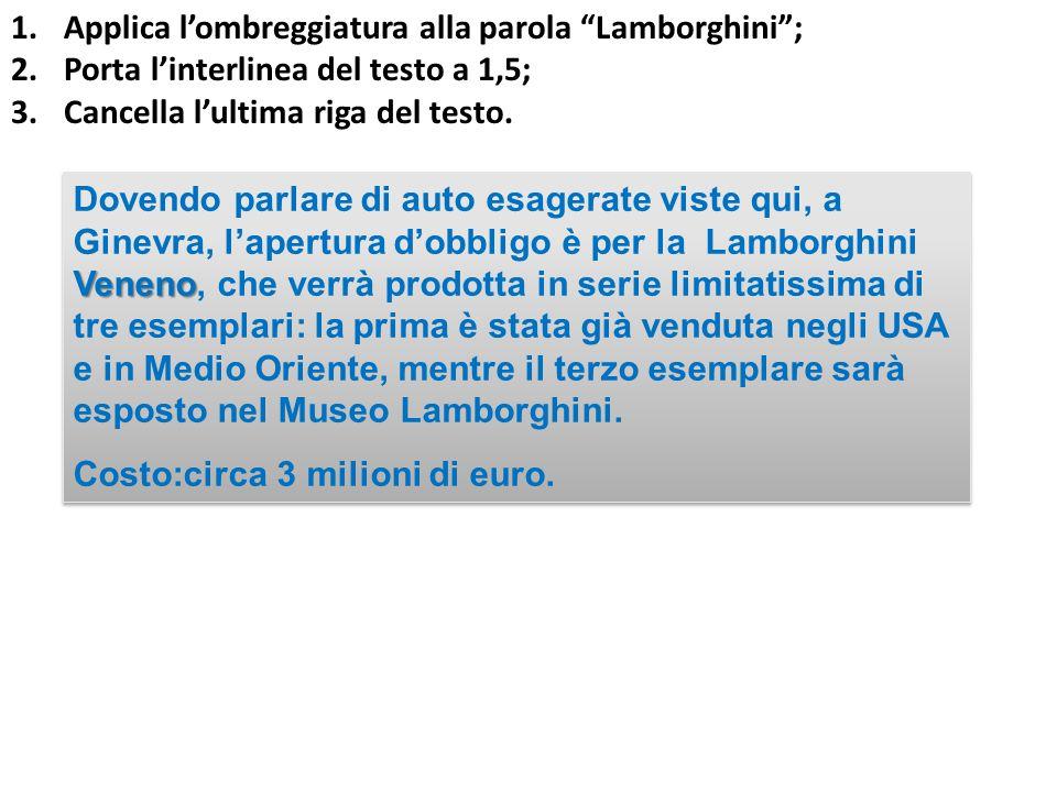Veneno Dovendo parlare di auto esagerate viste qui, a Ginevra, l'apertura d'obbligo è per la Lamborghini Veneno, che verrà prodotta in serie limitatissima di tre esemplari: la prima è stata già venduta negli USA e in Medio Oriente, mentre il terzo esemplare sarà esposto nel Museo Lamborghini.