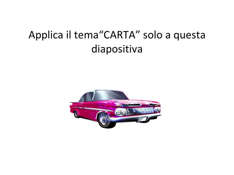 Applica il tema CARTA solo a questa diapositiva