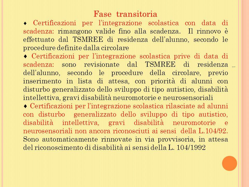 Fase transitoria ♦ Certificazioni per l'integrazione scolastica con data di scadenza: rimangono valide fino alla scadenza. Il rinnovo è effettuato dal