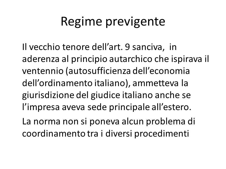 Regime previgente Il vecchio tenore dell'art. 9 sanciva, in aderenza al principio autarchico che ispirava il ventennio (autosufficienza dell'economia