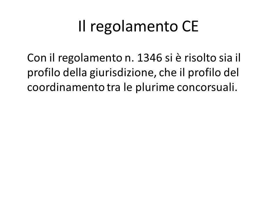 Il regolamento CE Con il regolamento n. 1346 si è risolto sia il profilo della giurisdizione, che il profilo del coordinamento tra le plurime concorsu