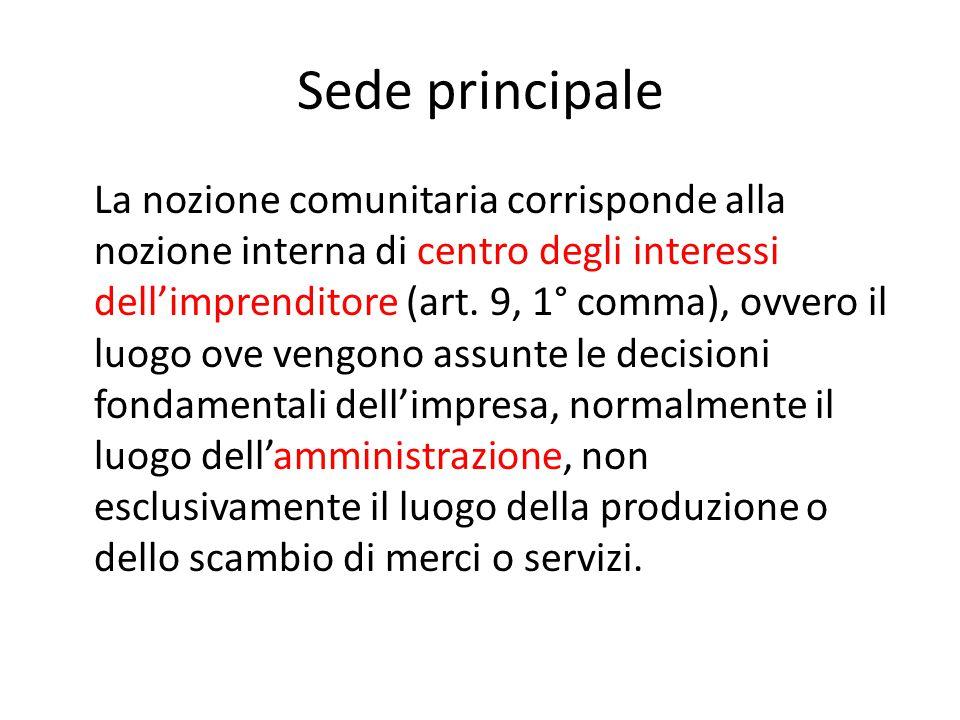Sede principale La nozione comunitaria corrisponde alla nozione interna di centro degli interessi dell'imprenditore (art. 9, 1° comma), ovvero il luog
