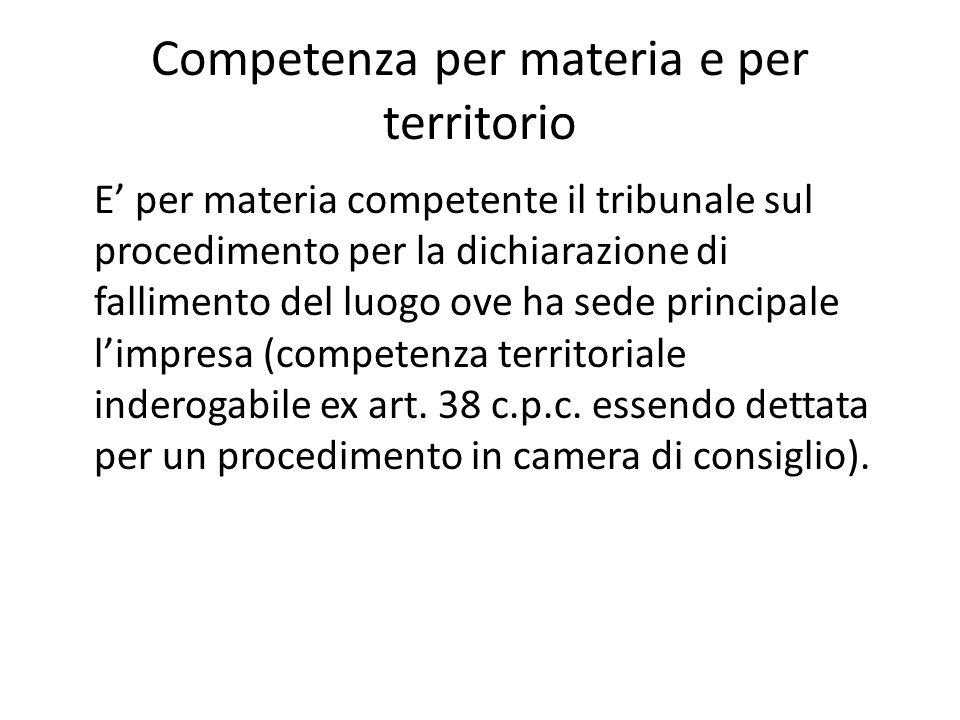 Competenza per materia e per territorio E' per materia competente il tribunale sul procedimento per la dichiarazione di fallimento del luogo ove ha se