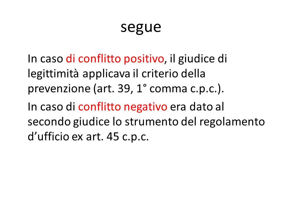 segue In caso di conflitto positivo, il giudice di legittimità applicava il criterio della prevenzione (art. 39, 1° comma c.p.c.). In caso di conflitt