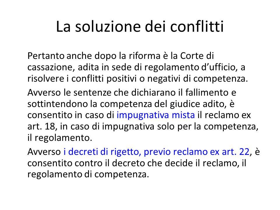 La soluzione dei conflitti Pertanto anche dopo la riforma è la Corte di cassazione, adita in sede di regolamento d'ufficio, a risolvere i conflitti po
