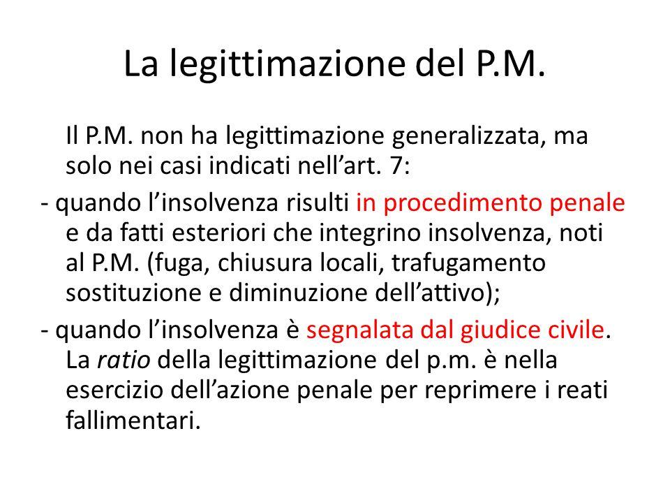 La legittimazione del P.M. Il P.M. non ha legittimazione generalizzata, ma solo nei casi indicati nell'art. 7: - quando l'insolvenza risulti in proced