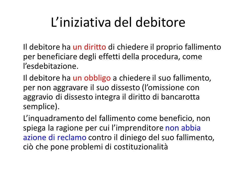 L'iniziativa del debitore Il debitore ha un diritto di chiedere il proprio fallimento per beneficiare degli effetti della procedura, come l'esdebitazi