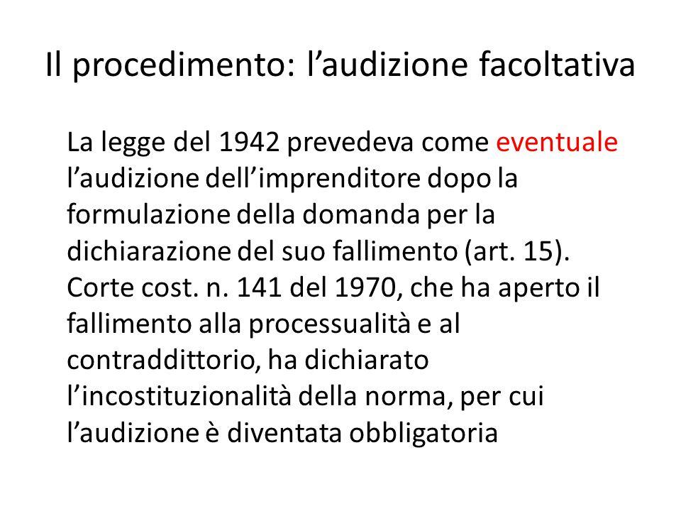 Il procedimento: l'audizione facoltativa La legge del 1942 prevedeva come eventuale l'audizione dell'imprenditore dopo la formulazione della domanda p