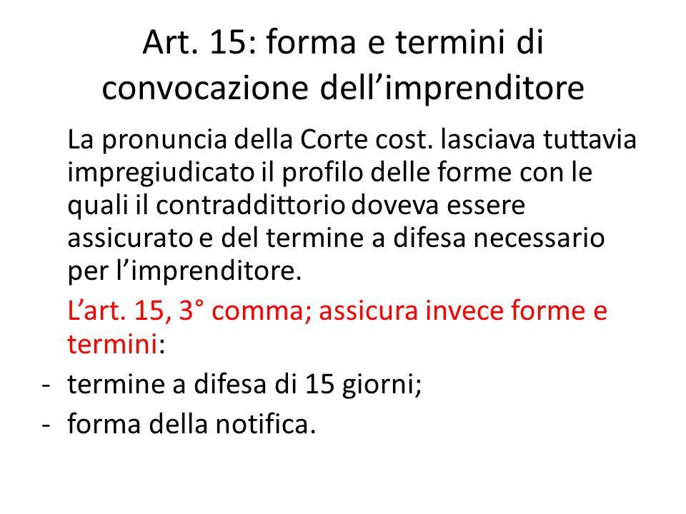 Art. 15: forma e termini di convocazione dell'imprenditore La pronuncia della Corte cost. lasciava tuttavia impregiudicato il profilo delle forme con